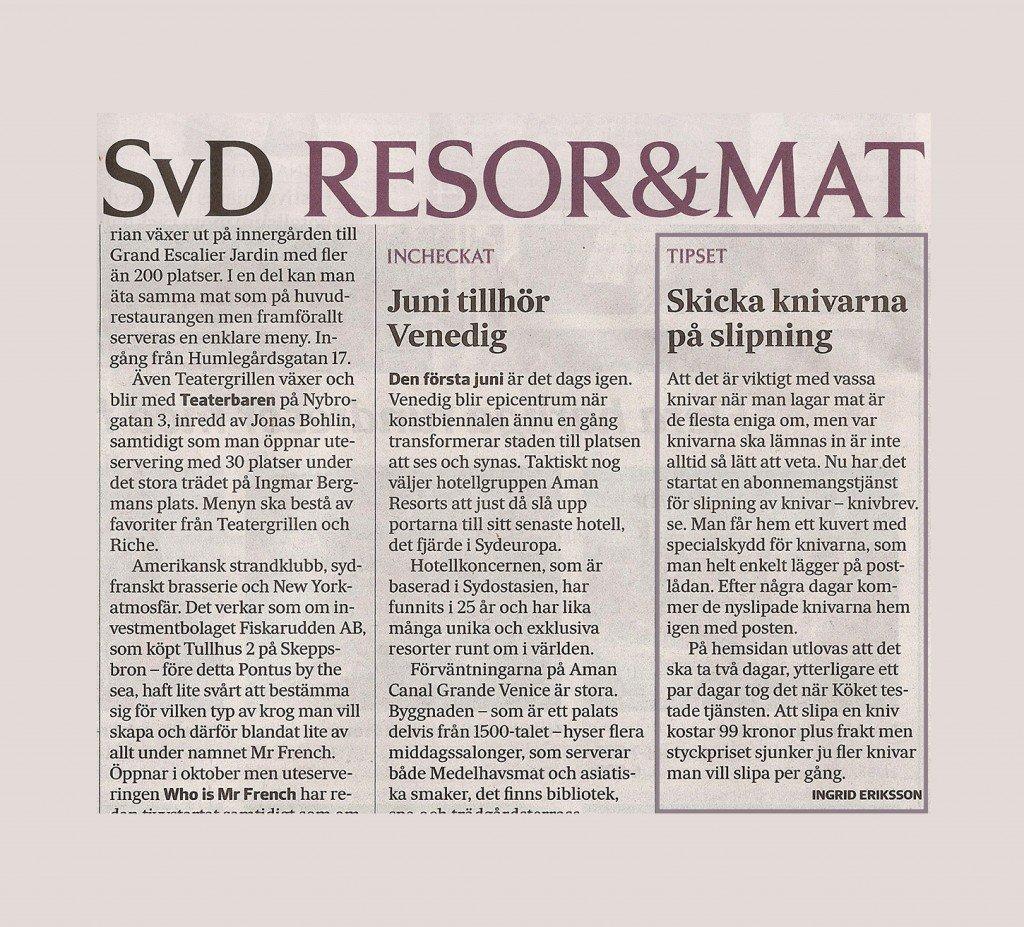 Knivbrevs fina recension i Svenska dagbladet